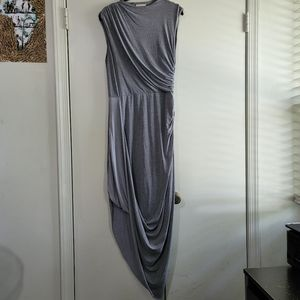 Gray Drape Dress with Assymetrical Hem